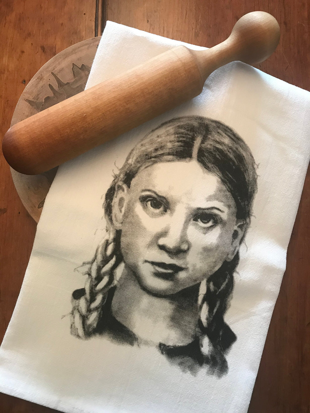 Greta Thunberg Tea Towel by Jennie Blue