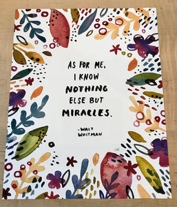 "Little Truths Studio Art Print Walt Whitman ""Miracles"" Quote"