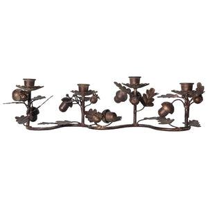 Metal Taper Holder w/ Leaves & Acorns, w/Antique Gold Finish