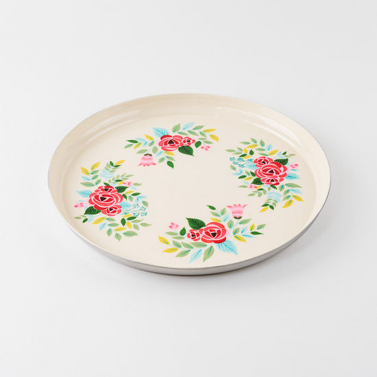 Hand Painted Floral Tray, Stainless, 15.75