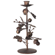 Load image into Gallery viewer, Metal Taper Holder w/ Leaves & Acorns, Antique Gold Finish - 2 sizes