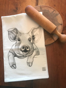 Pig Tea Towel by Jennie Blue