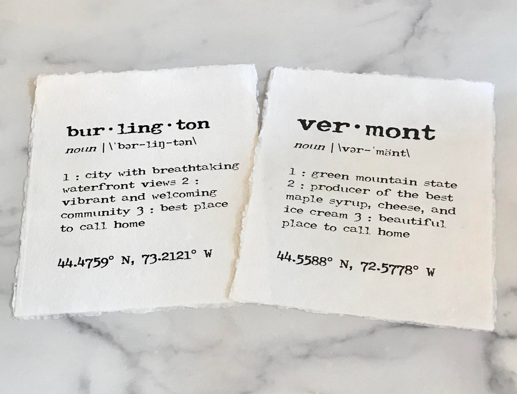 Burlington & Vermont Definition Print in Typewriter Font