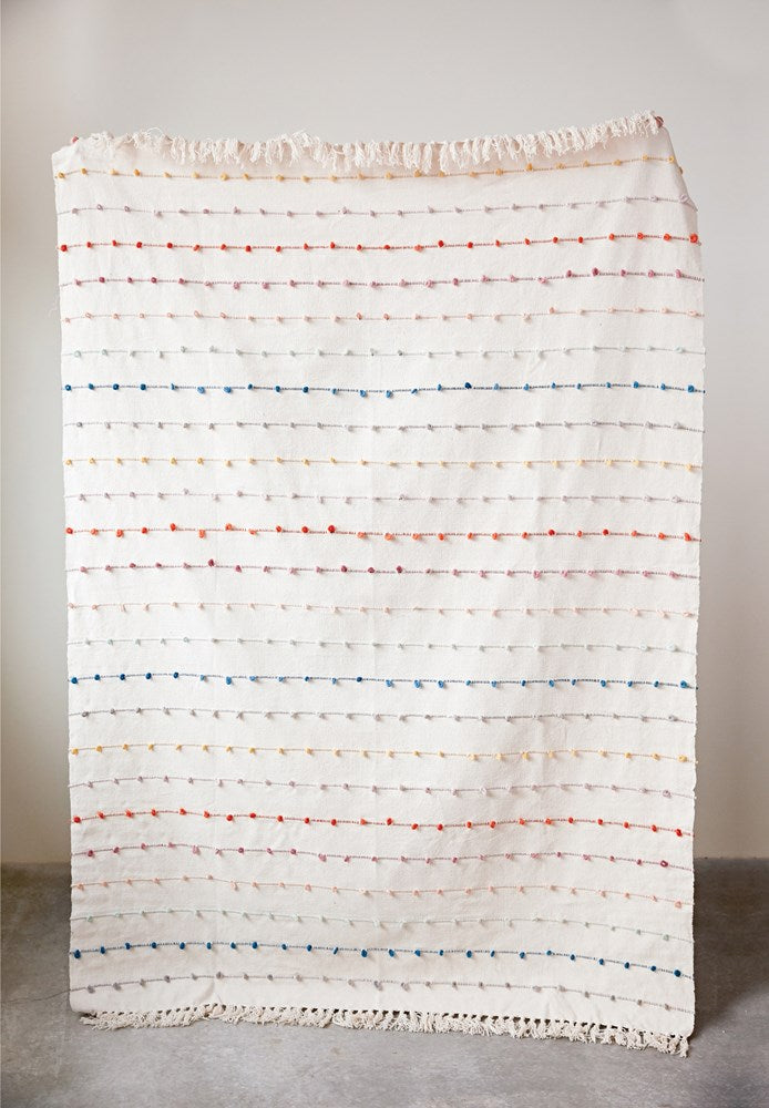 Cotton Throw with Embroidered Loops