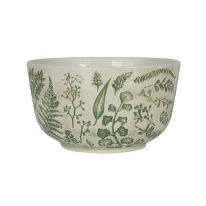 Hand-Stamped Green & White Stoneware Bowl w/ Embossed Pattern