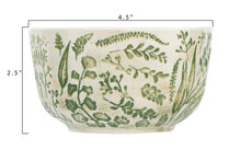Load image into Gallery viewer, Hand-Stamped Green & White Stoneware Bowl w/ Embossed Pattern