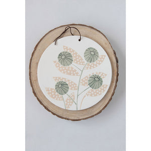 Hand-Painted Stoneware Serving Board w/ Flower & Leather Tie