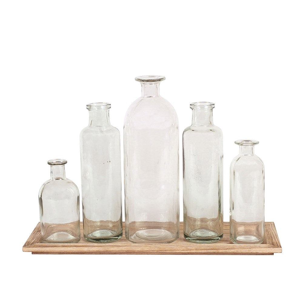 Wood Tray w/5 Glass Bottle Vases