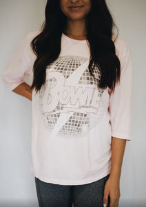 Bowie Disco Bolt Graphic T Light Pink