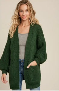 Chunky Cable Lantern Sleeve Cardigan Forest Green