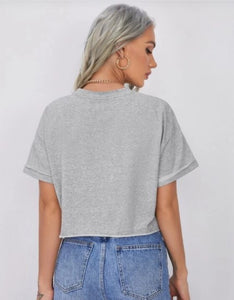 Cropped loose-Fit Boxy Top Heather Grey Back View