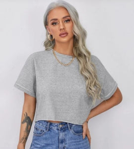 Cropped loose-Fit Boxy Top Heather Grey