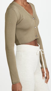 Crop Cami Cardigan Sweater Combo Olive Color