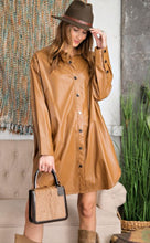 Load image into Gallery viewer, Faux Leather Shacket Camel Front View