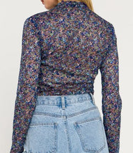 Load image into Gallery viewer, Floral Mesh Mock Neck Top Blue Multi Back View