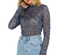 Load image into Gallery viewer, Floral Mesh Mock Neck Top Blue Multi