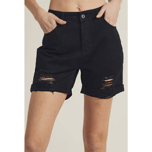 High Waist Boyfriend Shorts Black
