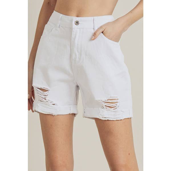 High Waist Boyfriend Shorts White