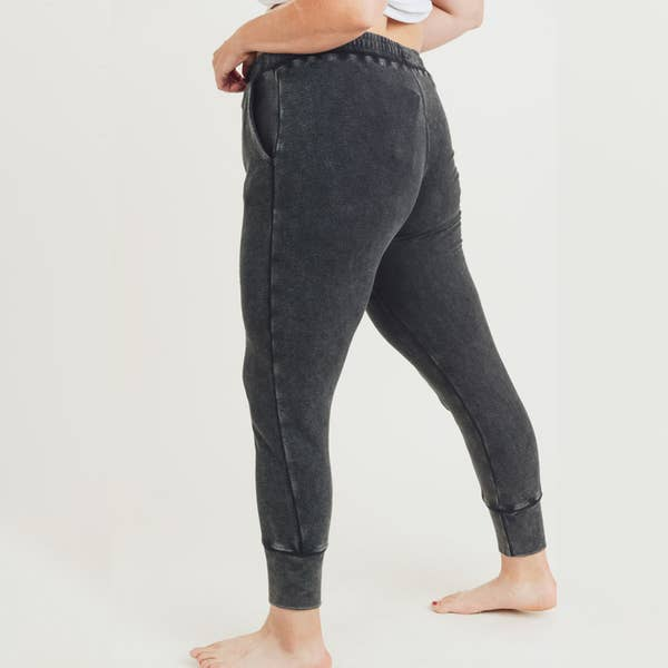 Mineral Wash Terry Sweatpants Black