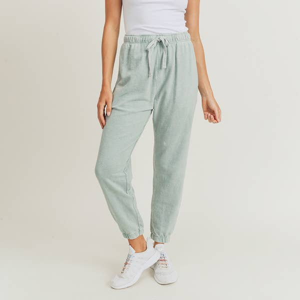 Mineral-Washed Jacquard Joggers Sage