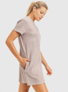 Mineral Washed Ribbed Knit Tennis Dress Dusty Pink