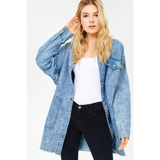 Oversized Denim Shirt Jacket Medium Wash