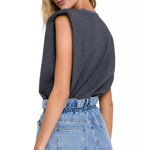 Padded Shoulder Knit T-Shirt Grey Back View