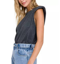 Load image into Gallery viewer, Padded Shoulder Knit T-Shirt Grey Side View