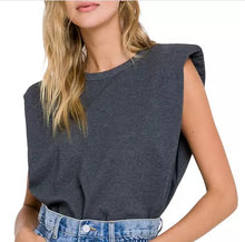 Load image into Gallery viewer, Padded Shoulder Knit T-Shirt Grey