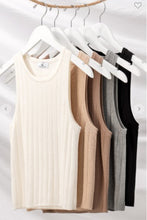Load image into Gallery viewer, Rib Knit Sleeveless Tank solid colors avail White / Mocha
