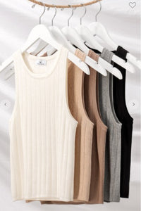 Rib Knit Sleeveless Tank solid colors avail White / Mocha