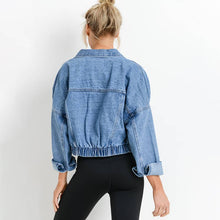 Load image into Gallery viewer, Raw & Ribbed Crop Denim Jacket Back