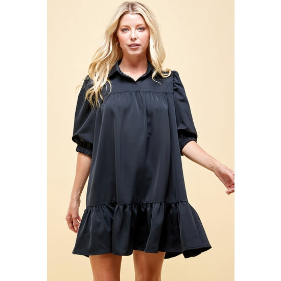 Satin Collar Dress Black