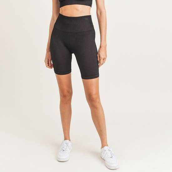 High Waist Seamless Shorts Black/Med Grey