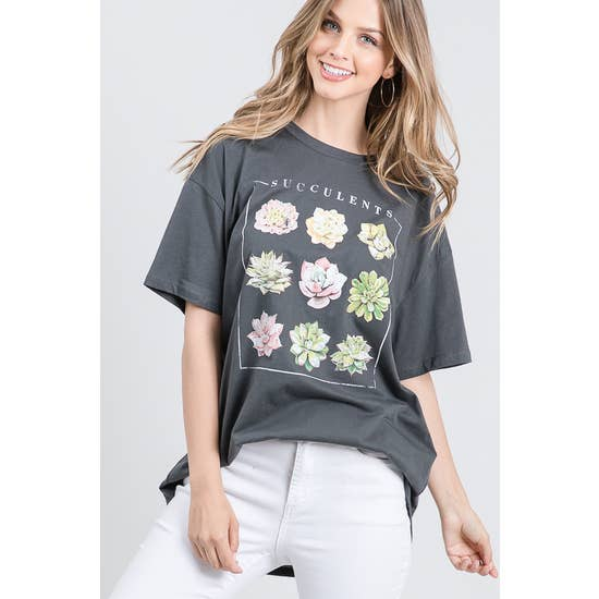 Succulents Oversized Graphic T Grey