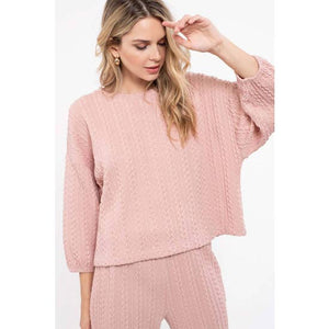 Zig Zag Rib Knit Sweater Dusty Pink Front View