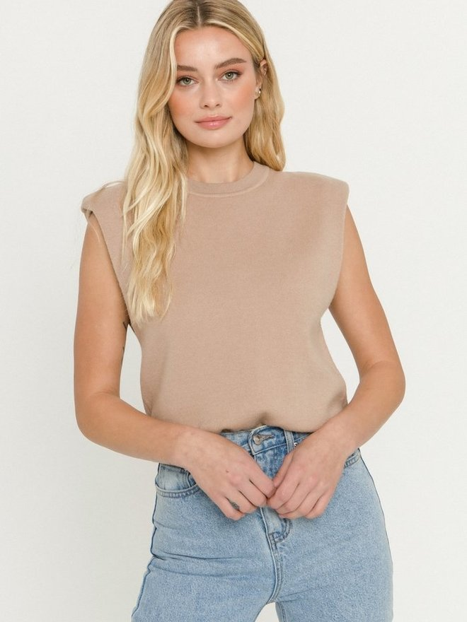 Knit Sweater Vest with Shoulder Pads Camel