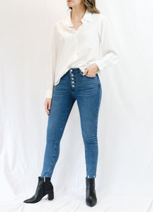 Button Down Skinny Jeans w/ Hem Scratch