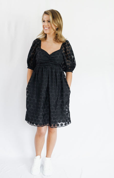 Sheer Puff Sleeve Dot Mini Dress  Black