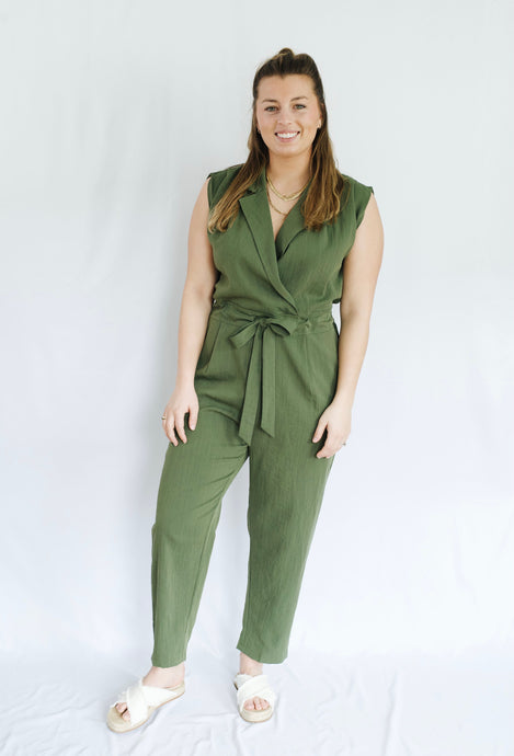 Sleeveless Belted Jumpsuit Olive