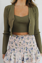 Load image into Gallery viewer, Crop Cami Cardigan Sweater Combo Olive