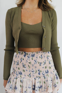 Crop Cami Cardigan Sweater Combo Olive
