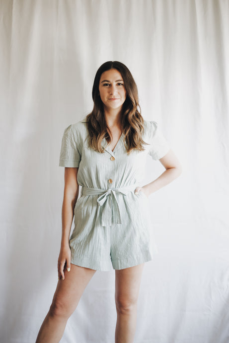 Notched Collar Romper Sage
