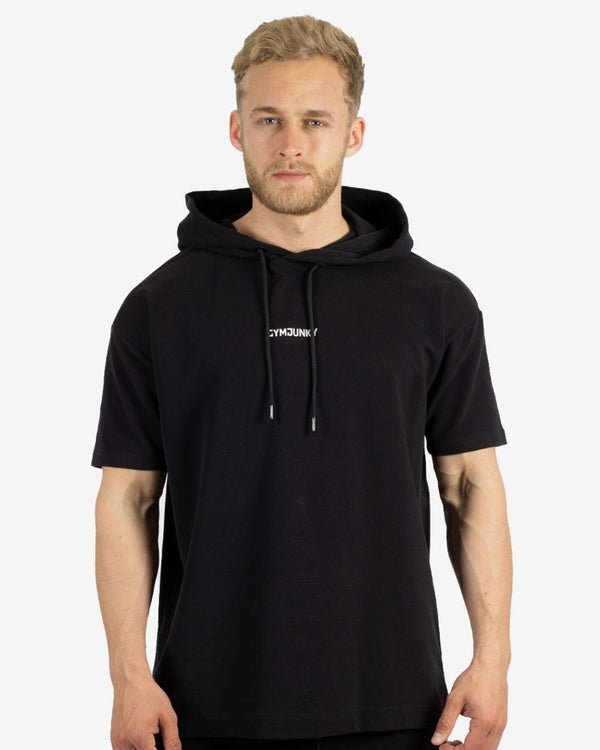 Gymjunky Carbon Hooded T-Shirt Black