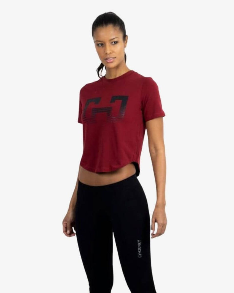 Gymjunky Crop Logo Shirt Deep Red