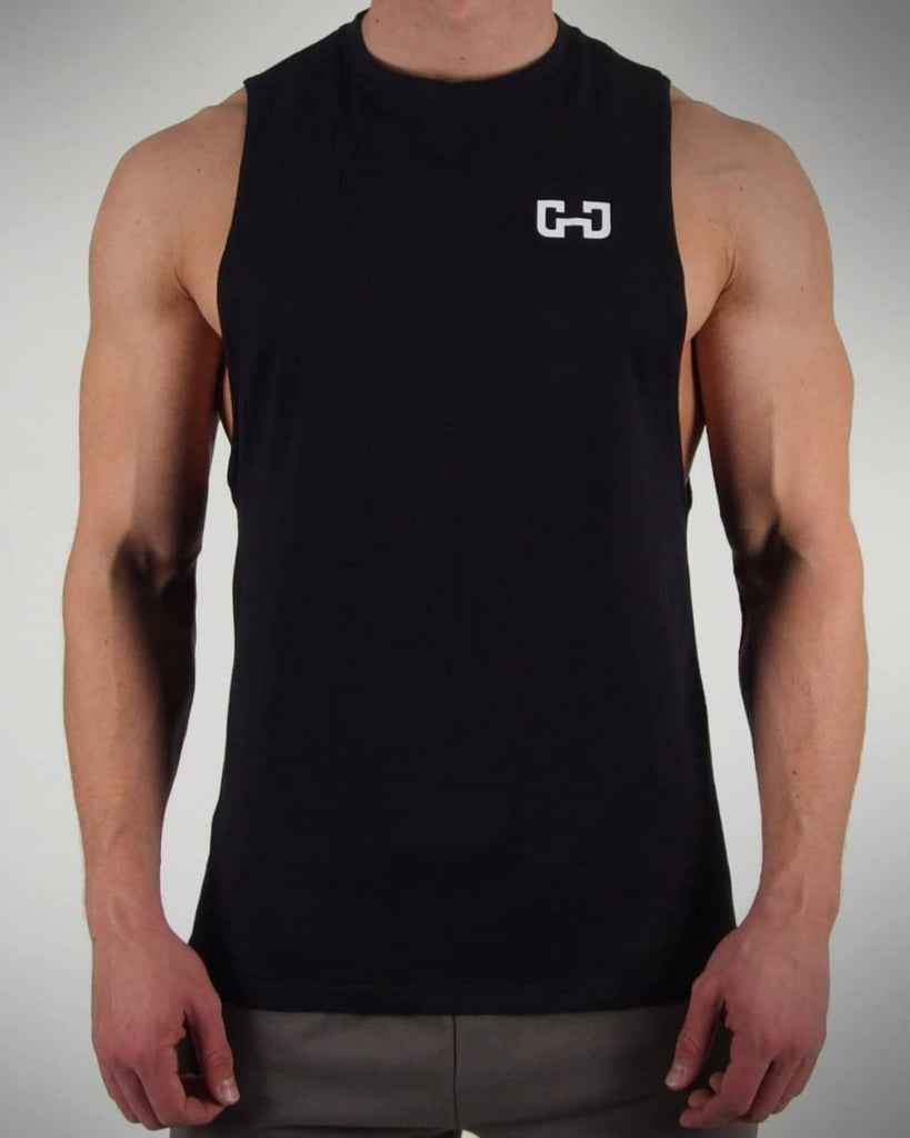 Gymjunky Cutted Tee Tank Black/White