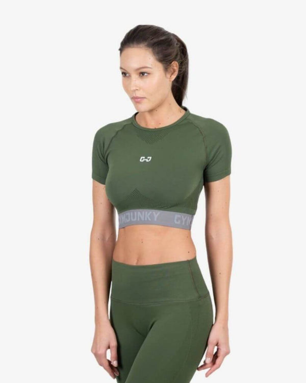 Gymjunky Performance Top Khaki