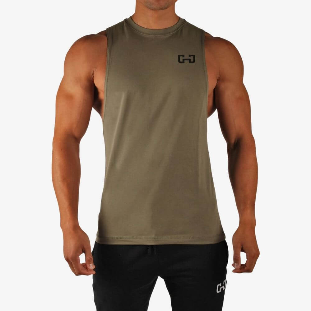 Gymjunky Cutted Tee Tank Military Green