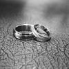 Tigrade Brushed & Polished Silver Couple Wedding Band