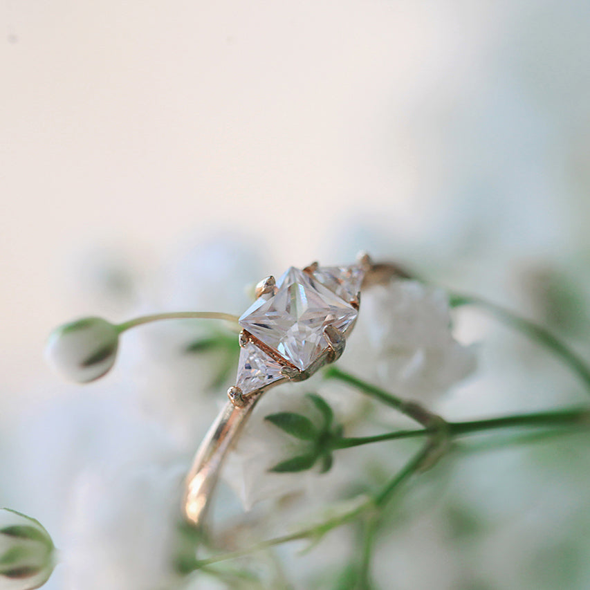 Gold Solitaire Opal Ring
